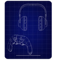 3d model of joystick and headphones on a blue vector image vector image