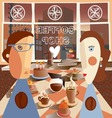 a couple in the coffee shop vector image vector image