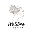 beautiful woman with bun hairstyle beauty wedding vector image vector image