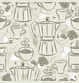 beige seamless patterns coffee set coffee cup vector image vector image