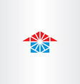 blue red house icon triangle logo vector image vector image