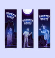 bookmarks with haunted house and ghosts at night vector image vector image