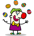 cartoon clown juggling easter eggs vector image vector image