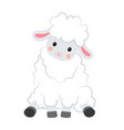 cartoon smiling white sheep sits on white vector image vector image