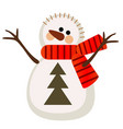 cartoon snowman isolated on a white background vector image vector image