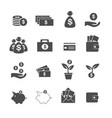 cash investment profit and assets icons set vector image