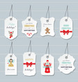 christmas labels and badges set vector image vector image