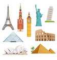 different world famous symbols set isolate on vector image vector image