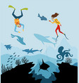 diver explorers and reef underwater wildlife vector image