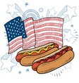doodle americana hotdog vector image vector image