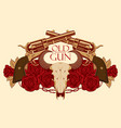 emblem with skull of bull red roses and pistols vector image vector image