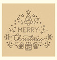 festive x-mas vintage banner with line art icons vector image