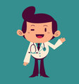 Happy Cartoon Doctor Waving vector image