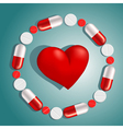 heart surrounded by pills vector image vector image
