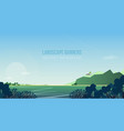 horizontal banner with gorgeous riverside vector image