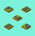 isometric road set of navigation road way and vector image