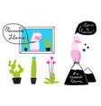llama designs with cactus and mountains hand drawn vector image vector image
