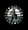 logo design hiking life breathe with hiking man vector image