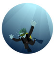 man diving in sea vector image vector image