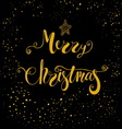 Merry Christmas greeting card on black background vector image