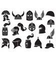 military helmets icons set vector image