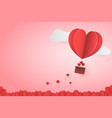paper style love of valentine day heart balloon vector image vector image