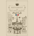 parisian street cafe with view of the eiffel tower vector image vector image