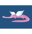 Pink crocodile with wings Fantastic animal Good vector image vector image