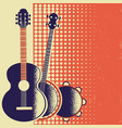 retro music poster background with musical vector image vector image