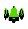 ringing bell icon green 3d icon with vector image vector image