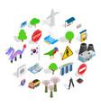 roadside icons set isometric style vector image vector image