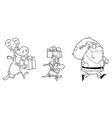 Santa delivering present cartoon vector image vector image