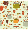Seamless pattern background with tea related vector image vector image