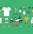 seamless pattern with golf game vector image vector image