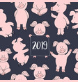 seamless pig collection set banner happy new year vector image