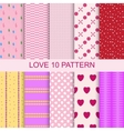 Set 10 patterns romantic love seamless vector image