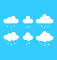 set cloud with snow icons in cartoon flat vector image vector image
