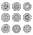 Set of 9 hand drawn mandala arabic template vector image