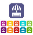 shopping counter with umbrella icons set flat vector image vector image