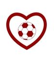 soccer ball heart vector image vector image