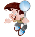 student holding magnifying glass vector image vector image