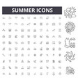 summer line icons signs set outline vector image