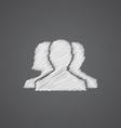 team sketch logo doodle icon vector image