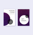 trendy cover design template set violet abstract vector image
