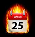 Twenty-fifth march in calendar burning icon on vector image
