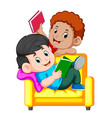 two boy is reading book sitting vector image