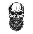 vintage trendy bald hipster skull template vector image vector image