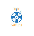 vinyl retro disc and wi fi signal design template vector image