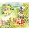 Watercolor countryside landscape with little boy vector image vector image