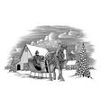winter horse sleigh scene vector image vector image